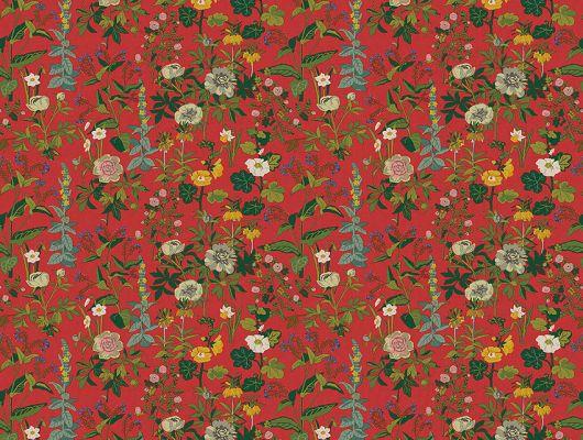 Яркие красные фотообои SOMMAR из коллекции Scandinavian Designers III  от Borastapeter с богатым цветочным узором, заказать с доставкой на дом, Scandinavian Designers III, Обои для гостиной, Обои для кухни, Обои для спальни, Обои с цветами, Фотообои, Хиты продаж
