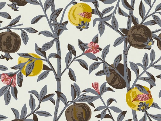Флизелиновые обои из Швеции коллекция Scandinavian Designers III от Borastapeter под названием GRANATAPPLE. Растительный рисунок. Ветви гранатового дерева с плодами и цветами Фон – нейтральный светлый   Обои для спальни, гостиной, кухни. Бесплатная доставка,, Scandinavian Designers III, Обои для гостиной, Обои для кухни, Обои для спальни, Обои с цветами, Флизелиновые обои, Хиты продаж