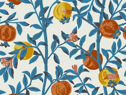 Флизелиновые обои из Швеции коллекция Scandinavian Designers III от Borastapeter под названием GRANATAPPLE. Растительный рисунок. Ветви гранатового дерева с плодами и цветами Фон – нейтральный светлый , экрю. Оплата наличными в магазине, Scandinavian Designers III, Новинки, Обои для гостиной, Обои для кухни, Обои для спальни, Обои с цветами, Флизелиновые обои