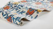 Флизелиновые обои из Швеции коллекция Scandinavian Designers III от Borastapeter под названием GRANATAPPLE. Растительный рисунок. Ветви гранатового дерева с плодами и цветами Фон – нейтральный светлый , экрю. Оплата наличными в магазине