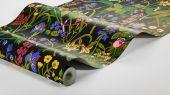 Флизелиновые обои из Швеции коллекция Scandinavian Designers III от Borastapeter  ROS OCH LILJA . Насыщенные яркие краски лета. Садовые цветы на   глубоком черном фоне. Печать передает ощущение росписи вручную.