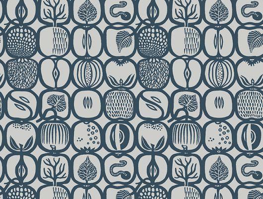 Флизелиновые обои из Швеции коллекция Scandinavian Designers III от Borastapeter под названием FRUKTLADA. Стилизованное изображение различных фруктов и ягод сформировано в геометрический узор и образует некую сетку со множеством мелких деталей. Контуры цвета маренго на сером фоне, Scandinavian Designers III, Обои для гостиной, Обои для кухни, Флизелиновые обои