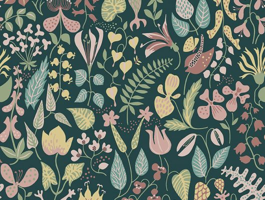 Флизелиновые обои из Швеции коллекция Scandinavian Designers III от Borastapeter   HERBARIUM. Плотный цветочный узор в скандинавском стиле. Розовые и желтые цветы на глубоком  темно-зеленом фоне., Scandinavian Designers III, Новинки, Обои для гостиной, Обои для спальни, Обои с цветами, Флизелиновые обои