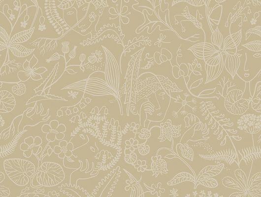Флизелиновые обои из Швеции коллекция Scandinavian Designers III от Borastapeter под названием  GRAZIA.  Деликатный контурный узор из лесных цветов, которые органично переходят в изображения  юных лиц., Scandinavian Designers III, Обои для гостиной, Обои для кухни, Обои для спальни, Обои с цветами, Флизелиновые обои