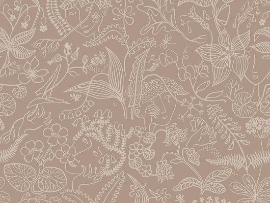 Флизелиновые обои из Швеции коллекция Scandinavian Designers III от Borastapeter под названием  GRAZIA.  Деликатный контурный узор из лесных цветов, которые органично переходят в изображения  юных лиц., Scandinavian Designers III, Новинки, Обои для гостиной, Обои для кухни, Обои для спальни, Обои с цветами, Флизелиновые обои