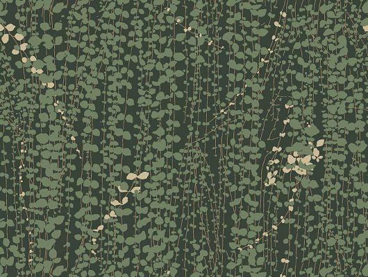Флизелиновые обои из Швеции коллекция Scandinavian Designers III от Borastapeter под названием  RANKE.Тонкие свисающие плети мелких зеленых листочков на густо-зеленом фоне с легкими акцентами белых цветов   выглядят изысканно и элегантно., Scandinavian Designers III, Новинки, Обои для гостиной, Обои для кабинета, Обои для спальни, Флизелиновые обои