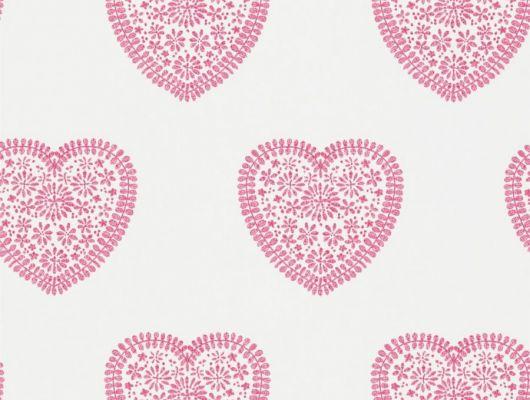 Заказать обои для детской Sweet Heart от Harlequin с узором из кружевных розовых сердечек на белом фоне с бесплатной доставкой., Book of Little Treasures, Обои для кухни