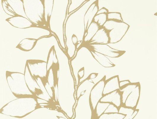 Приобрести обои для ремонта квартиры арт. 112143 дизайн Lustica из коллекции Salinas от Harlequin, Великобритания с крупным рисунком цветов золотого цвета  на белом фоне в шоу-руме в Москве, онлайн оплата, Salinas, Обои для гостиной, Обои для спальни