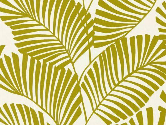 Обои в спальню арт. 112137 дизайн Mala из коллекции Salinas от Harlequin, Великобритания с рисунком тропических листьев салатового цвета на молочном фоне выбрать в шоу-руме в Москве, большой ассортимент, Salinas, Обои для гостиной, Обои для спальни