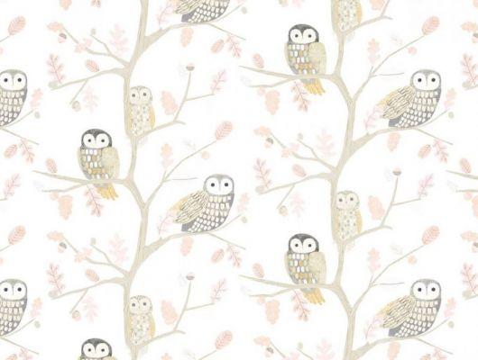 Заказать обои для детской Little Owls 112628 от Harlequin с изображением очаровательных сов, сидящих на дубовых ветках в мягких оттенках розового, серого и охры в интернет-магазине., Book of Little Treasures, Обои для спальни