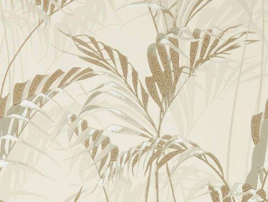 Изящный тропический рисунок в бежевых тонах на флизелиновых обоях арт.216644 от Sanderson из коллекции The Glasshouse подойдет для ремонта спальни, The Glasshouse