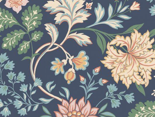 Флизелиновые обои из Швеции коллекция Vårt Arkiv от Borastapeter под названием ALICIA.  Восхитительный цветочный узор в витражном стиле на темно-синем фоне из цветов в желтых, зеленых, голубых и абрикосовых тонах. Обои для спальни, обои для гостиной, обои для кухни. Купить обои в интернет-магазине Одизайн, бесплатная доставка, онлайн оплата, Vart Arkiv, Обои для гостиной, Обои для кухни, Обои для спальни, Обои с цветами, Флизелиновые обои