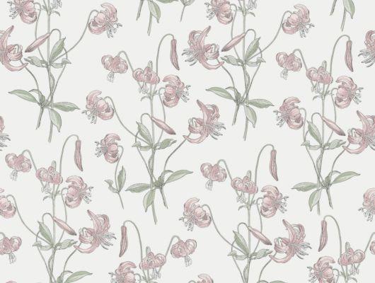 Флизелиновые обои из Швеции коллекция Northern FEELINGS от Collection For Walls под названием Lily. Розовые лилии на светлом фоне. Обои для кухни, обои для гостиной, обои для спальни. Большой ассортимент, купить обои в салоне Одизайн, Northern FEELINGS, Обои для гостиной, Обои для кухни, Обои для спальни, Флизелиновые обои