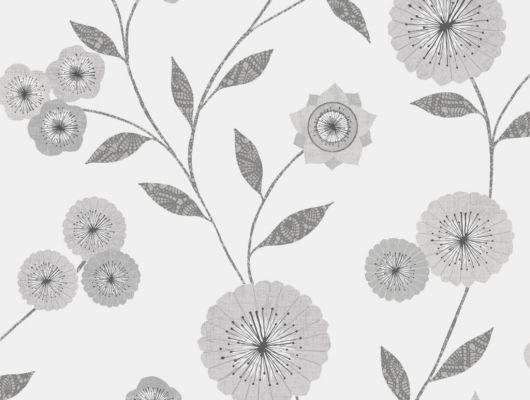 Флизелиновые обои из Швеции коллекция Northern FEELINGS от Collection For Walls под названием Marigold. Декоративный цветочный узор в серых тонах на светлом фоне. Обои для кухни, обои для гостиной, обои для спальни. Бесплатная доставка, купить обои, большой ассортимент, Northern FEELINGS, Архив, Обои для гостиной, Обои для кухни, Обои для спальни, Флизелиновые обои