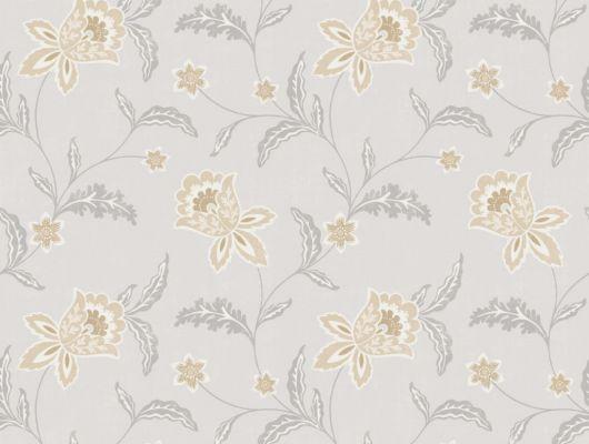 Флизелиновые обои из Швеции коллекция Northern FEELINGS от Collection For Walls под названием Bluebell. Декоративный цветочный узор желто-бежевого цвета на сером фоне. Обои для спальни, обои для гостиной, обои для кухни. Купить обои в интернет-магазине Одизайн, бесплатная доставка, онлайн оплата, Northern FEELINGS, Архив, Обои для гостиной, Обои для кухни, Обои для спальни, Флизелиновые обои