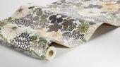 Флизелиновые обои из Швеции коллекция Vårt Arkiv от Borastapeter под названием ANITA. Выразительный ретро-рисунок с пышными цветами и листвой в приглушенной цветовой гаммой с желтыми, зелеными и коричневыми оттенками. Обои для кухни, обои для спальни, обои для гостиной. Купить обои, большой ассортимент, бесплатная доставка