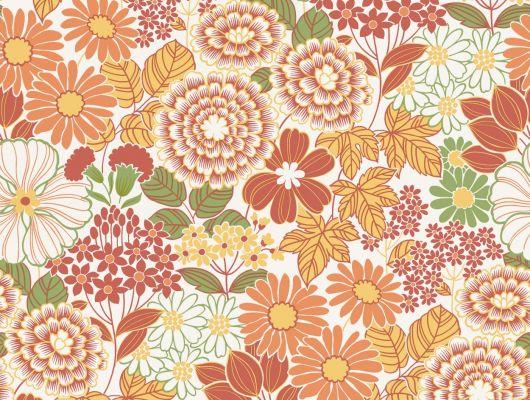 Флизелиновые обои из Швеции коллекция Vårt Arkiv от Borastapeter под названием ANITA. Яркие обои с выразительный ретро-рисунок с пышными цветами и листвой в контрастной палитре насыщенных оттенков — красных, оранжевых, желтых и зеленых. Обои для кухни, обои для спальни, обои для гостиной. Большой ассортимент, онлайн оплата, купить обои, Vart Arkiv, Новинки, Обои для гостиной, Обои для кухни, Обои для спальни, Обои с цветами, Флизелиновые обои