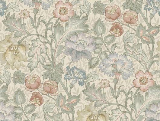 Флизелиновые фотопанно из Швеции коллекция Vårt Arkiv от Borastapeter под названием JANE.  На мягком серо-бежевом фоне распускаются цветы в приглушенно-голубых, желтых и красных тонах с пышной зеленой листвой. Рисунок был создан в 70-х годах прошлого века под вдохновением от работ Уильяма Морриса (William Morris). Фотообои для коридора, панно для спальни, фотообои для гостиной. Большой ассортимент, купить обои в салоне Одизайн, Vart Arkiv, Обои для гостиной, Обои для кухни, Обои для спальни, Обои с цветами