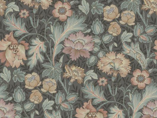 Флизелиновые фотопанно из Швеции коллекция Vårt Arkiv от Borastapeter под названием JANE.  Эффектные темно-серые обои с красочным узором из цветов. Рисунок был создан в 70-х годах прошлого века под вдохновением от работ Уильяма Морриса (William Morris). Фотообои для коридора, панно для спальни, фотообои для гостиной. Купить обои, большой ассортимент, бесплатная доставка, Vart Arkiv, Обои для гостиной, Обои для кухни, Обои для спальни, Обои с цветами, Хиты продаж