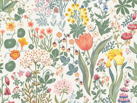 Флизелиновые обои из Швеции коллекции SPECIAL EDITION FLOWERY от Borastapeter с рисунком BLOMSTERHAV. Разнообразие цветов перенесет вас на очаровательную яркую поляну. Выбрать обои в столовую на сайте odesign.ru., Special Edition Flowery, Обои для гостиной, Обои для кухни, Обои для спальни