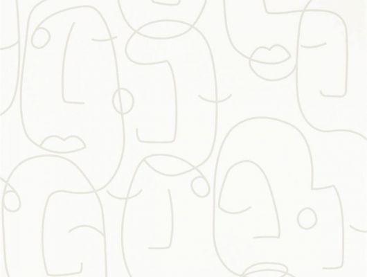Купить стильные английские обои в гостиную арт. 112005 дизайн Barbican из коллекции Zanzibar от Scion, Великобритания с  принтом вдохновленным Пикассо в виде абстрактных портретов на белом фоне на сайте Odesign.ru, Zanzibar, Обои для гостиной, Обои для спальни