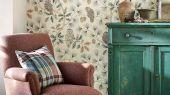 Заказать сказочные флизелиновые обои для детской Owlswick из коллекции Elysian от Sanderson арт. 216595 с изображением сов на ветвях можно выбрать на сайте odesign.ru