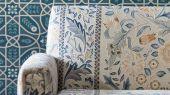 Продажа английских обоев для столовой арт. 216699 из коллекции Melsetter от Morris, Великобритания с геометрическим орнаментом в темно-зеленом цвете в интернет-магазине в Москве, бесплатная доставка.Фото в интерьере