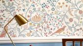 Заказать дизайнерские обои арт. 216705 из коллекции Melsetter от Morris с ярким растительным рисунком и совами в интернет-магазине odesign.ru
