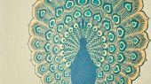 Обои в гостиную Kalapi арт. 216757 из коллекции Caspian, Sanderson,с изображением характерных павлинов Калапи с их великолепными металлическими хвостовыми перьям.Приобрести в шоу-руме в Москве.Фото в интерьере.