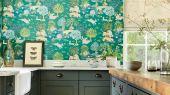 Обои для кухни Pamir Garden арт. 216765 из коллекции Caspian с представлением Персидского сада в стиле фрески с эффектом кракелюра,выбрать в шоу-руме О-Дизайн