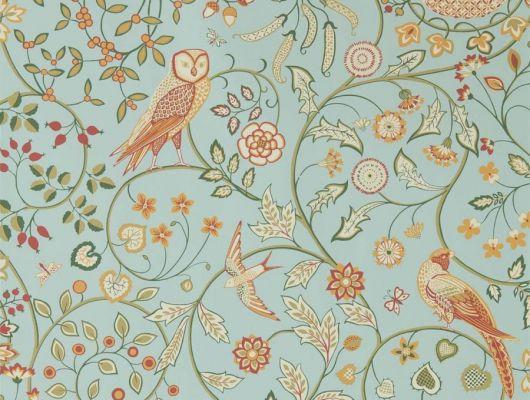 Бумажные обои арт. 216704 из коллекции Melsetter от Morris, Великобритания с совами, листьями и ягодами подойдут для ремонта в детской, Melsetter, Бумажные обои, Обои для гостиной