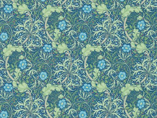 Обои бумажные дизайн Morris Seaweed арт. 216865 из коллекции Compilation Wallpaper от Morris , Великобритания в голубых тонах у узором морских водорослей купить для спальни недорого. Обои в интерьере., Compilation Wallpaper, Обои для гостиной, Обои для кухни, Обои для спальни