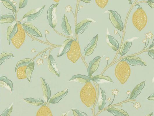 Выбрать бумажные английские обои арт. 216673 из коллекции Melsetter от Morris с фруктами на фоне светлого зеленого цвета с бесплатной доставкой в Москве, Melsetter, Бумажные обои, Обои для гостиной, Обои для кухни