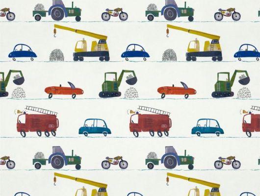 Выбрать обои для детской Just Keep Trucking арт. 112643 от Harlequin с изображением разноцветных машин и техники в салонах Москвы., Book of Little Treasures