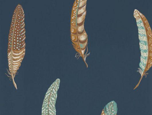 Заказать дизайнерские обои 216604 из коллекции Elysian от Sanderson с необычными перьями в бежево-голубых тонах на синем фоне с бесплатной доставкой до дома, Elysian, Обои для гостиной, Обои для спальни