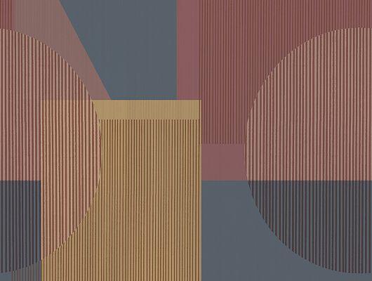Флизелиновые фотообои из Швеции коллекция The Apartment от Borastapeter, с рисунком под названием Memphis.  С крупным геометрически, абстрактным рисунком в стиле модерн выполненный в темно синем, бордовом и горчичном оттенках. Обои гостиной. Купить Шведские обои онлайн, большой ассортимент, бесплатная доставка., The Apartment, Новинки, Обои для гостиной