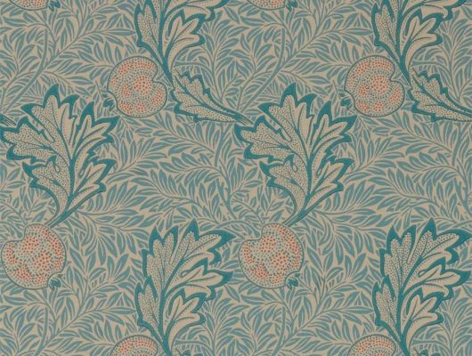 Выбрать бумажные обои для гостиной арт. 216690 из коллекции Melsetter от Morris, Великобритания с растительным рисунком из листьев и фруктов в сине-персиковых цветах в салоне обоев в Москве, Melsetter, Бумажные обои, Обои для гостиной, Обои для спальни