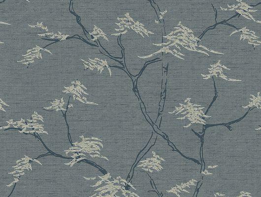 Обои для прихожей арт. 3101, Temple Tree из коллекции Eastern Simplicity от Borastapeter с изящным рисунком деревьев на синем фоне заказать в интернет-магазине с бесплатной доставкой., Eastern Simplicity, Обои для гостиной, Обои для кабинета, Обои для спальни