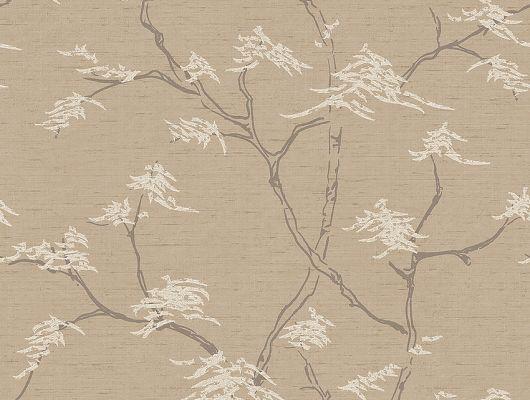 Обои для гостиной арт. 3104, Temple Tree из коллекции Eastern Simplicity от Borastapeter с изящным рисунком деревьев на сдержанном песочном фоне выбрать на сайте odesign.ru., Eastern Simplicity, Обои для гостиной, Обои для спальни