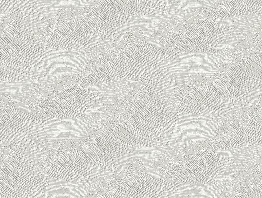 Дизайнерские обои The Wave арт. 3115 из коллекции Eastern Simplicity от Borastapeter серого цвета с изображением волн в технике гравюры заказать в интернет-магазине с бесплатной доставкой., Eastern Simplicity, Обои для гостиной, Обои для спальни