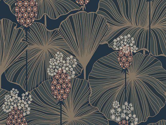 Дизайнерские обои Umbrella Leaves арт. 3118 из коллекции Eastern Simplicity от Borastapeter с изображением выразительных цветов и листьев в оттенках синего, песочного и приглушенного розового купить в салонах Москвы., Eastern Simplicity, Обои для гостиной, Обои для кухни, Обои для спальни
