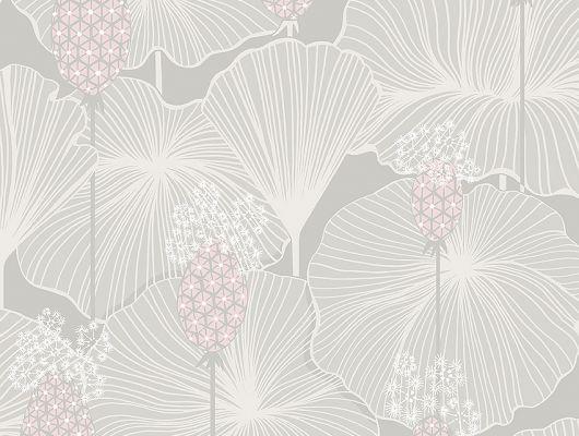 Дизайнерские обои Umbrella Leaves арт. 3120 из коллекции Eastern Simplicity от Borastapeter с изображением выразительных цветов и листьев в припыленных оттенках серого, зеленого и розового купить в салонах Москвы., Eastern Simplicity, Обои для гостиной, Обои для спальни