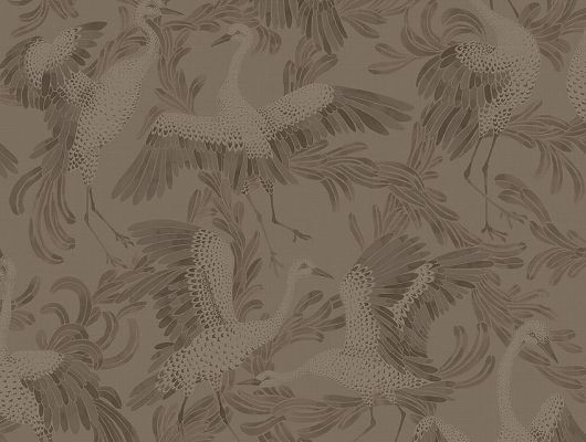 Купить в Москве обои для спальни Dancing Crane арт. 3127 из коллекции Eastern Simplicity от Borastapeter с акварельным изображением танцующих журавлей в коричневых тонах., Eastern Simplicity, Обои для гостиной, Обои для кабинета, Обои для спальни