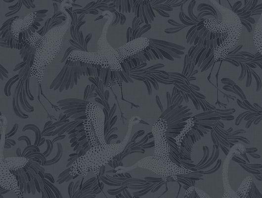 Купить в Москве обои для спальни Dancing Crane арт. 3128 из коллекции Eastern Simplicity от Borastapeter в темно-синих тонах с акварельным изображением танцующих журавлей., Eastern Simplicity, Обои для гостиной, Обои для кабинета, Обои для спальни