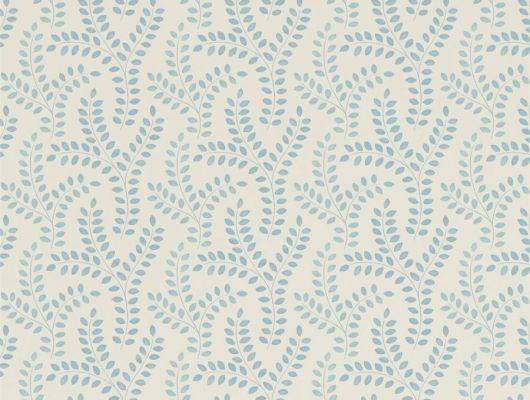 Изящные флизелиновые обои с растительным узором в голубых тонах на белом фоне Yarton из коллекции Littlemore от Sanderson выбрать в каталоге., Littlemore, Обои для гостиной, Обои для спальни