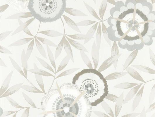 Выбрать обои в прихожую арт. 112162 дизайн Komovi  из коллекции Salinas от Harlequin, Великобритания с рисунком стилизованных цветов и листьев на сером фоне из большого ассортимента в салоне обоев в Москве, Salinas, Обои для гостиной, Обои для спальни