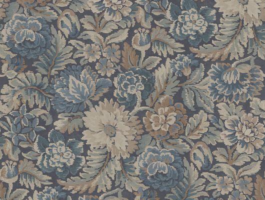 Заказать обои Nightingale Garden, арт. 3564 с цветочным рисунком, вдохновленным переплетениями жаккардовых тканей и узорами восточных ковров в синих, бежевых, серых и коричневых тонах на сайте ODesign с бесплатной доставкой., Cottage Garden, Обои для гостиной, Обои для кабинета, Обои для спальни, Обои с цветами, Флизелиновые обои