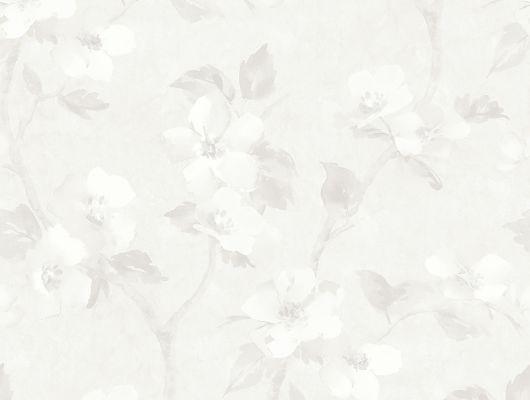 Обои для комнаты Helen´s Flower с нежным узором из вьющихся анемон в серо-белых тонах с текстурой патины купить в салонах Москвы., Cottage Garden, Обои для гостиной, Обои для кухни, Обои с цветами, Флизелиновые обои