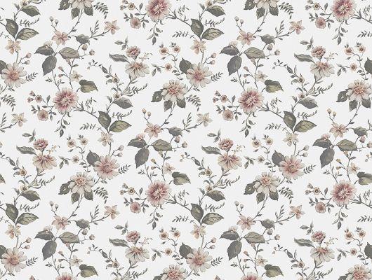 Выбрать фотообои Marion's Mural, арт. 3592 с изображением пышных цветов в розовых и зеленых тонах, вьющихся по белому фону с полотняной текстурой на сайте odesign.ru., Cottage Garden, Обои для гостиной, Обои для кухни, Обои для спальни, Обои с цветами, Фотообои, Хиты продаж
