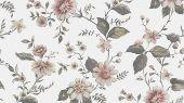 Выбрать фотообои Marion's Mural, арт. 3592 с изображением пышных цветов в розовых и зеленых тонах, вьющихся по белому фону с полотняной текстурой на сайте odesign.ru.